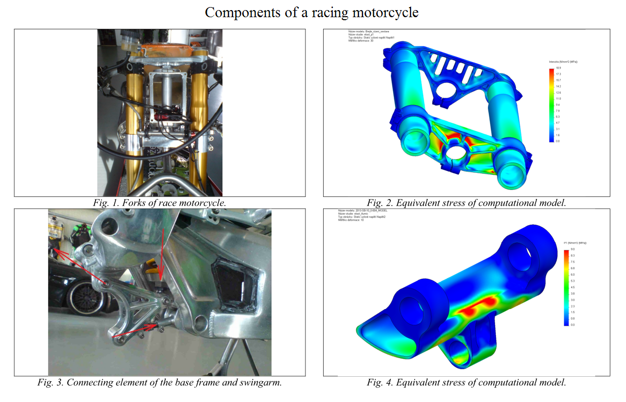 Components of a racing motorcycle